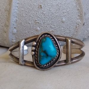 Native Sterling American Candelaria Turquoise cuff